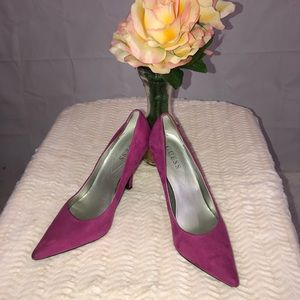 Guess Pink Suede Pointed Toe Heels 8.5
